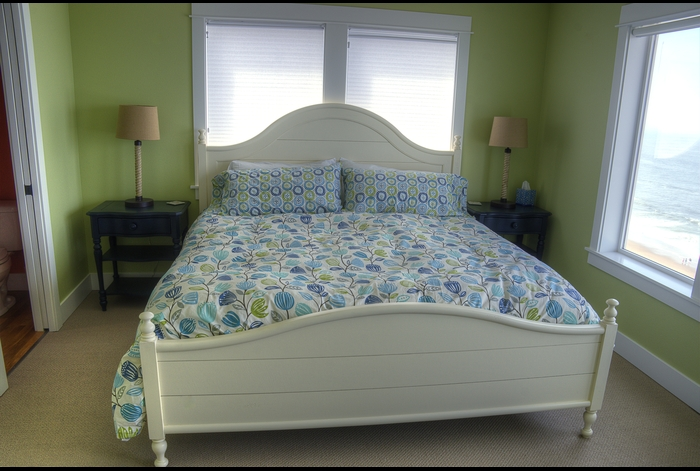 2nd Fl. Master Bedroom w/ King bed and adjoining half-bath ~ spectacular ocean view